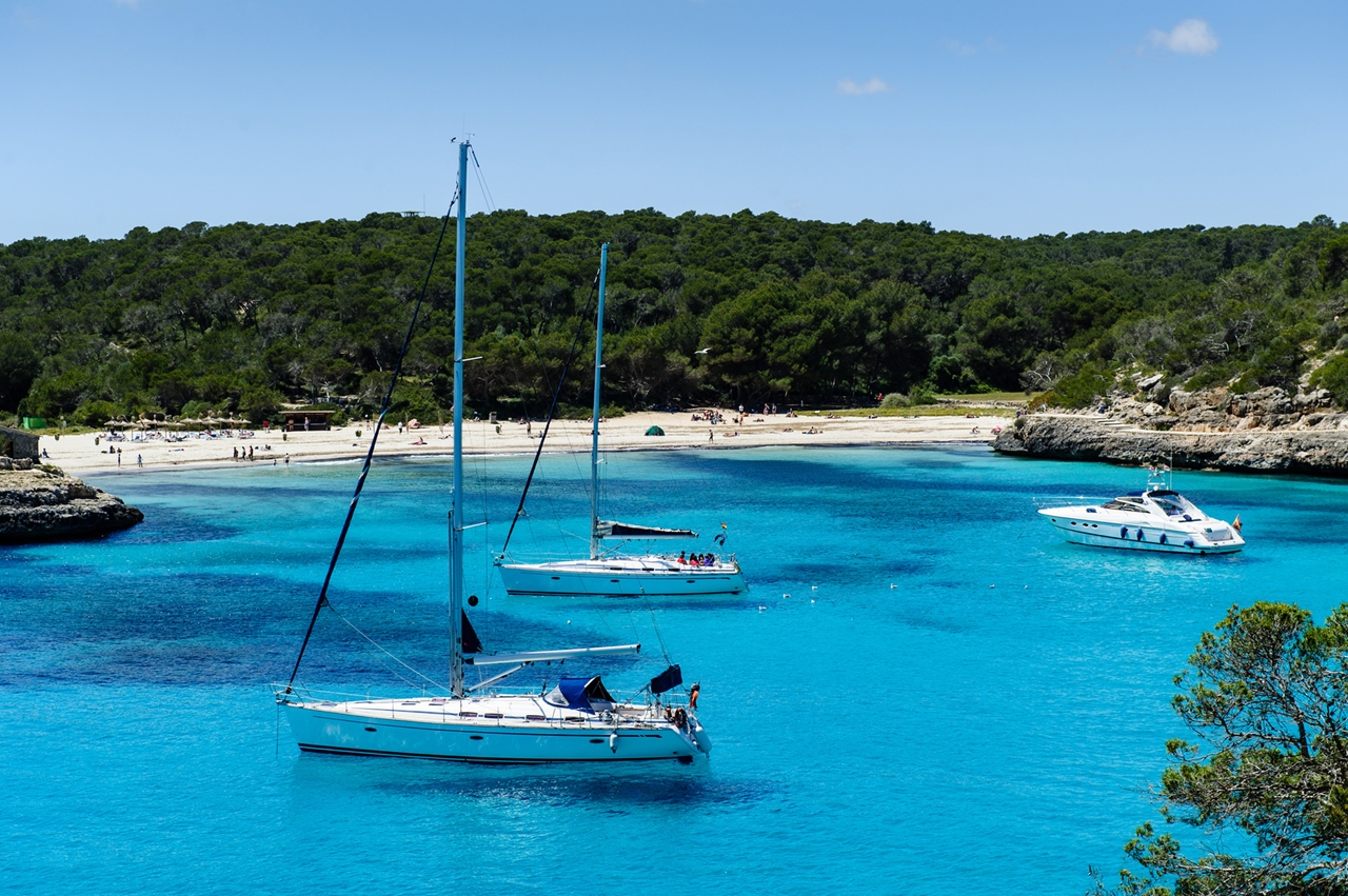 Charter boat anchorage at Cala Mandrago, Mallorca Island